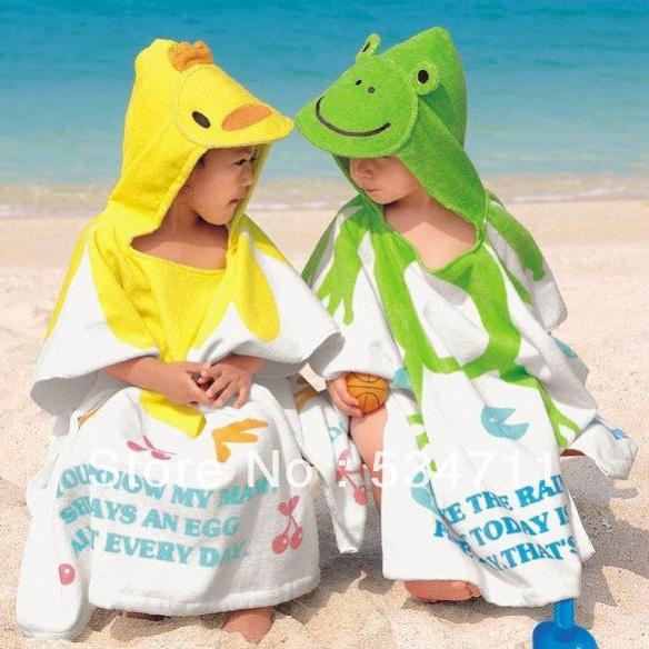 Envío gratis niños de la historieta toalla toallas de playa de estilo, albornoces 100% algodón toalla y albornoz bebé capa