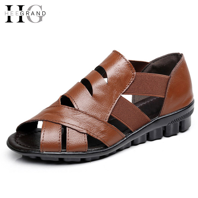 HEE GRAND PU Leather Gladiator Sandals Summer Platform Wedges Casual Women Shoes Slip On Shoes Woman Size 35-41 XWD5585 hee grand wedges gladiator sandals summer style women ankle boots platform shoes woman slip on flat open toe women shoes xwz2583