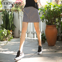 Veri Gude Women Polka Dot Skirt Cotton Liner Material Ribbons Decoration Lady tight wrap skirt Mini Skirt Black and Red Color