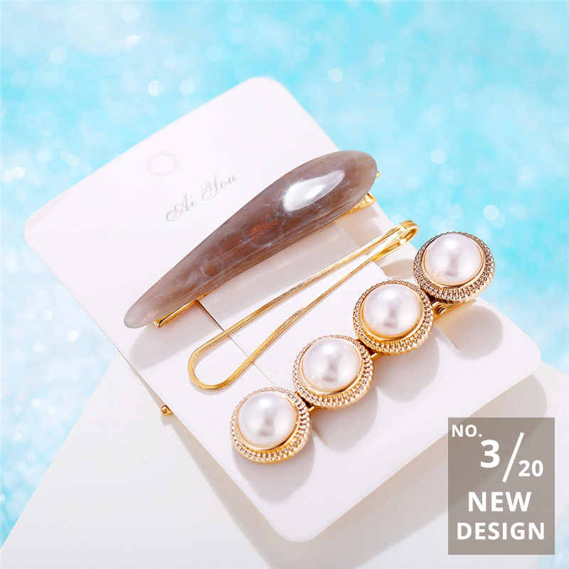 New Gold Crystal Pearl Shell Jewelry For Women NE+EA Fashion 2019 Hair Clips Set Pearl Earrings Pendant Necklaces BOHO Jewelry