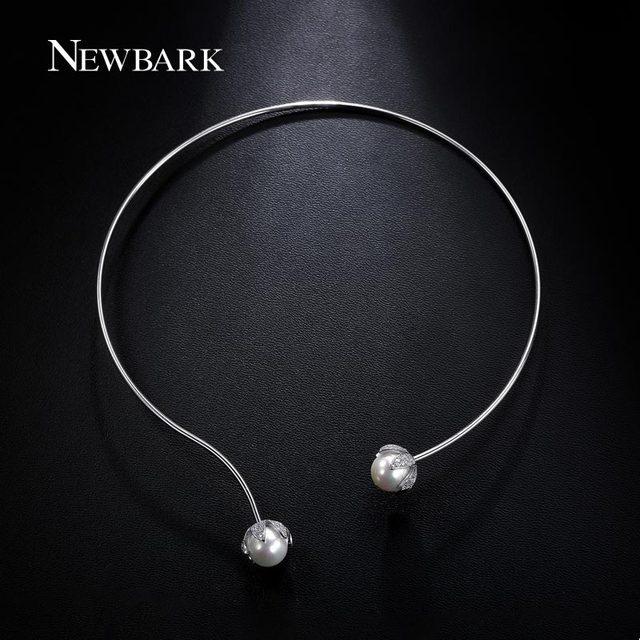 Newbark nueva llegada torques collar mujeres oro blanco plateado con 2 perlas de imitación de la cz choker collar de la joyería para el día de navidad
