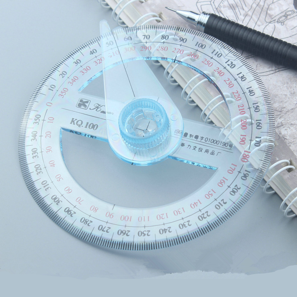 Transparent Plastic 360 Degree Diameter 10cm Protractor Ruler Angle Finder For Office Gift Protractors