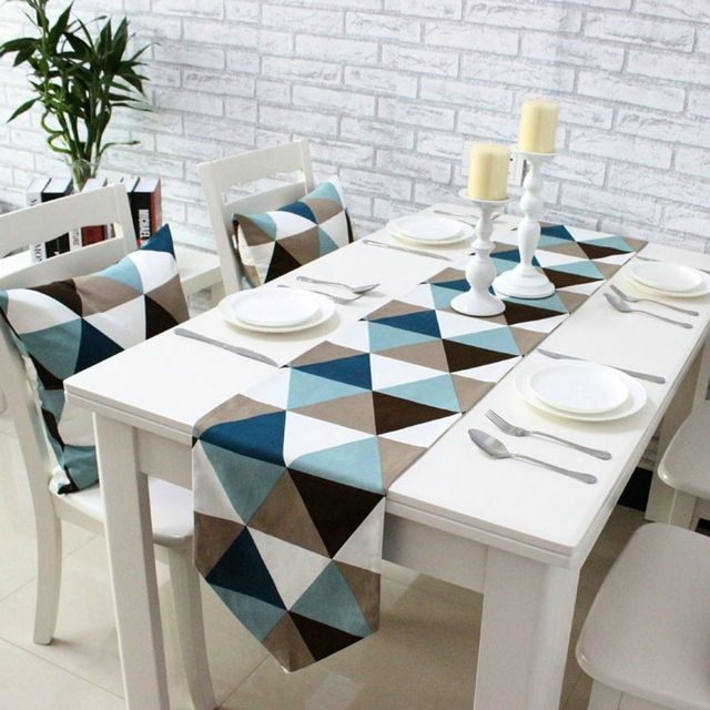 Nordic Style Table Runners Geometric Patchwork Plaid Modern Table Flag For  Home Party Tea Table Cloth