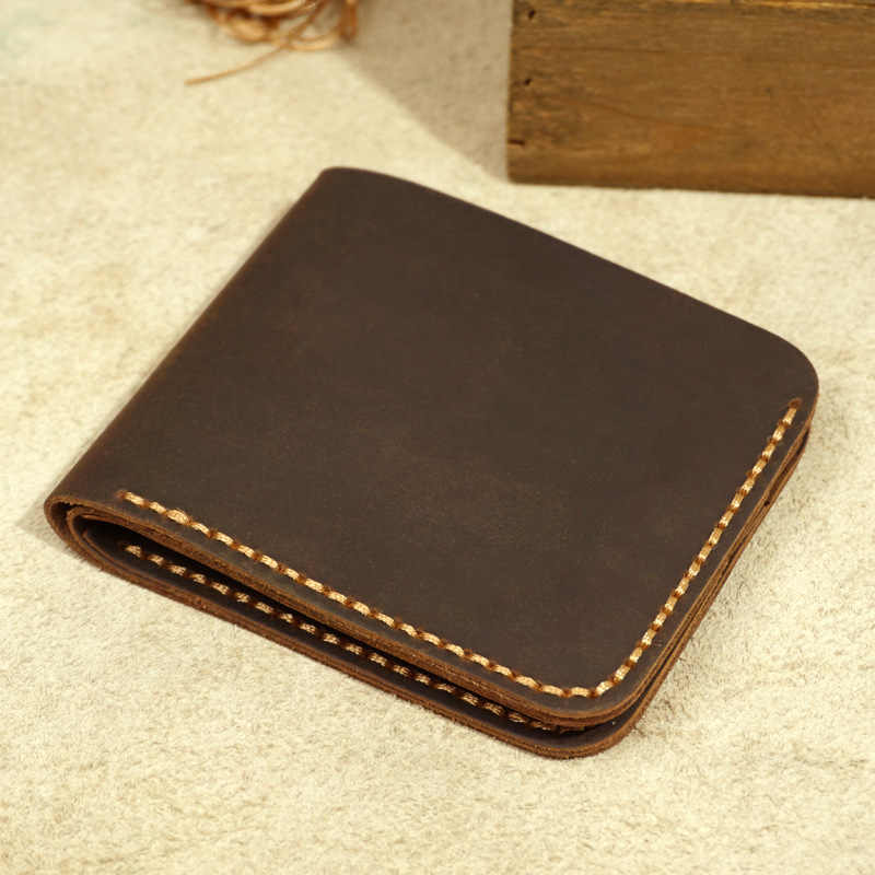 Handmade Genuine Leather Men Wallet Retro Short Wallet Men Durable Real Leather portfel male breif cartera hombre