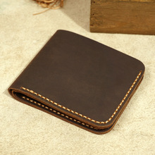 Handmade Genuine Leather Men Wallet Retro Short Wallet Men D