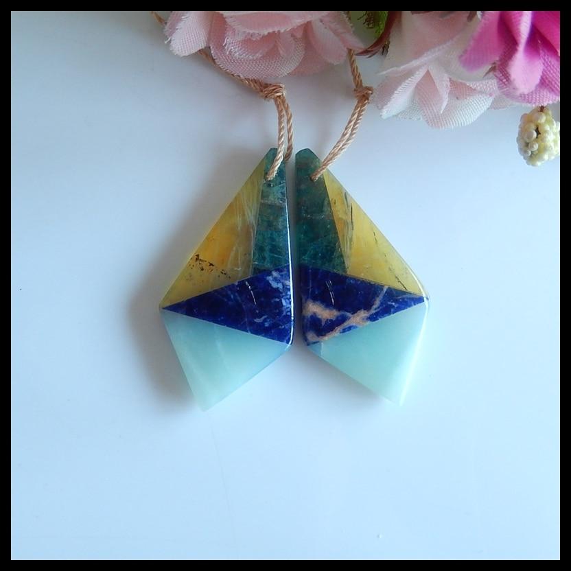 Blue Apatite Crystal Intarsia Gemstone Earring,45x11x4mm,6.8g-h3899 Handmade Intarsia Earrings,Prehnite,Yellow Opal