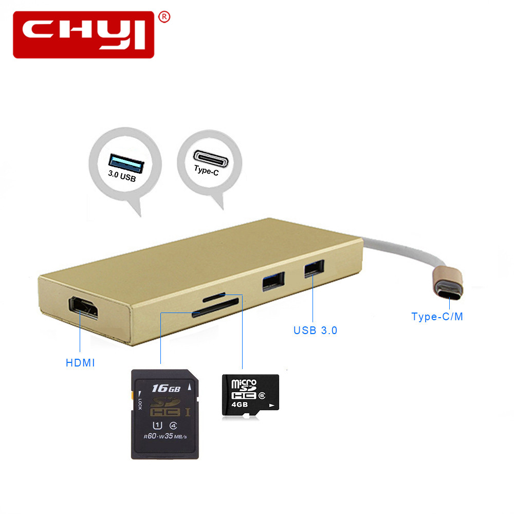 USB HUB All in One USB-C to HDMI Card Reader PD USB Splitter Adapter for MacBook Samsung Galaxy S9/S8/S8 Type C HUB USB 3.0 7 in 1 usb c type c hub to hdmi sd tf card reader usb 3 0 rj45 pd charging adapter for macbook samsung galaxy usb c hub