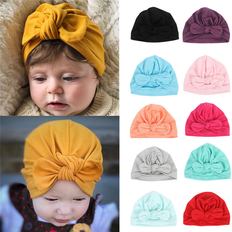 Newborn Baby Hat Baby Girls Boys Rabbit Ears Bowknot Solid Cotton Sleep Cap Headwear Caps baby accessories casquette enfant(China)