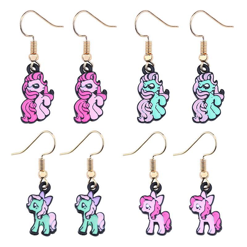 New Trendy Rainbow Enamel Unicorn Earrings Women Pegasus Horse Earings Fashion Animal Earring Brincos Dropshipping