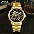 2016 nova MCE Mens luxo ouro Algarismos Romanos de Aço Inoxidável Mecânico Automático do Relógio de Pulso do negócio 331