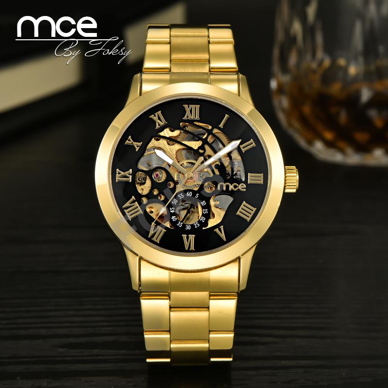 Prix pour 2017 nouveau mce mens de luxe or chiffres romains montre en acier inoxydable hommes automatique mécanique d'affaires montre-bracelet 331
