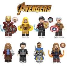 20Pcs/Lot Legoed Marvel Playmobil Building Blocks Iron Man Thor Thanos Super Heroes Minifigured Children Toys Avengers Endgame