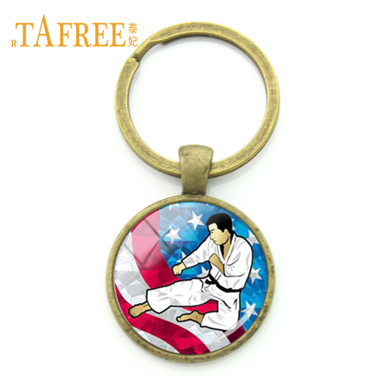 TAFREE 2018 Vintage Kickboxing Keychain Sport Swimming Golf Bicycle Charms Round Pendant Key Chain Ring Holder Jewelry FQ570