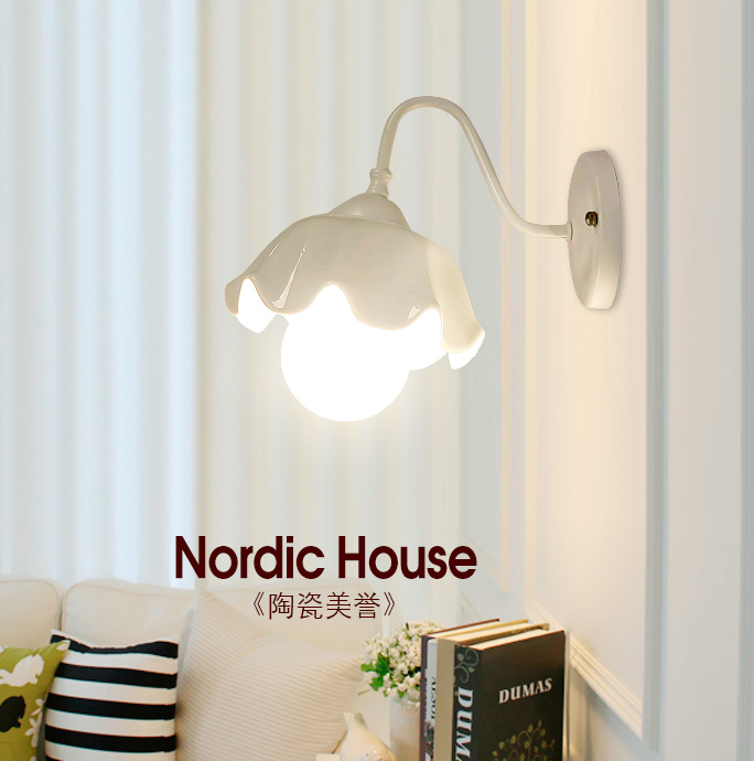ФОТО Fashion minimalist floral white ceramic wall lamps European iron holder E27 LED lamp for bar&balcony&corridor&porch&stairs TM028