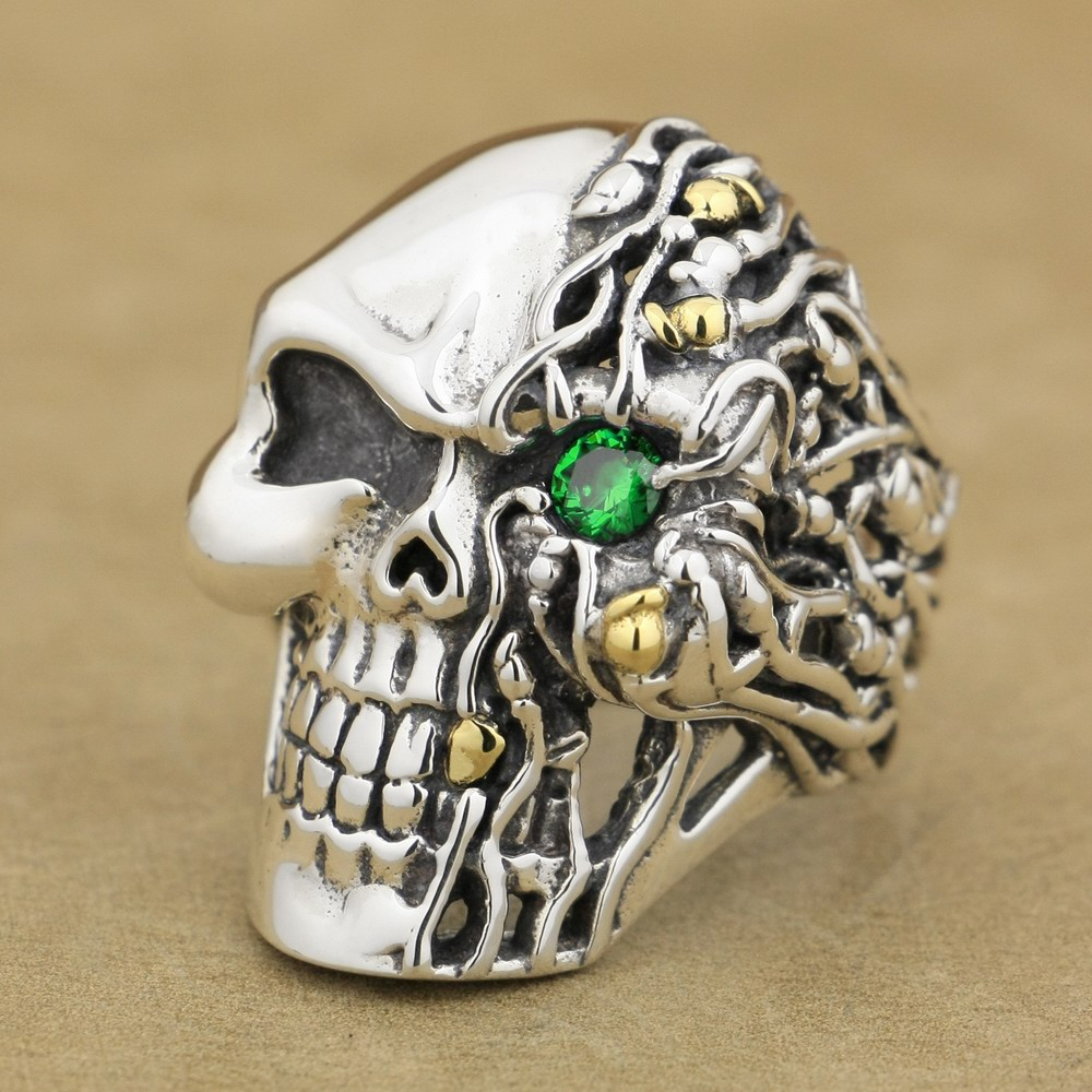 LINSION Green CZ Eye 925 Sterling Silver Skull Ring Mens Biker Rocker Punk Style 8V306 US Size 7~15