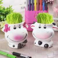 DIY cabeza de hierba larga muñeca en maceta Oficina casa verde planta decoración par de vacas maceta carnosa para flor pequeña