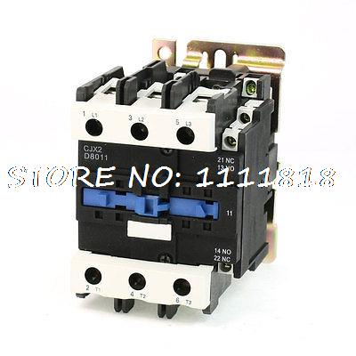 Motor Control AC Contactor AC-3 45KW 125A 3 Pole 110V Coil CJX2-8011