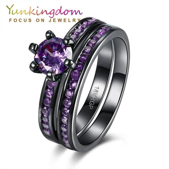 9ee6d0001264 Yunkingdom pistola de color negro anillo de compromiso del aniversario de  boda de lujo 4 colores