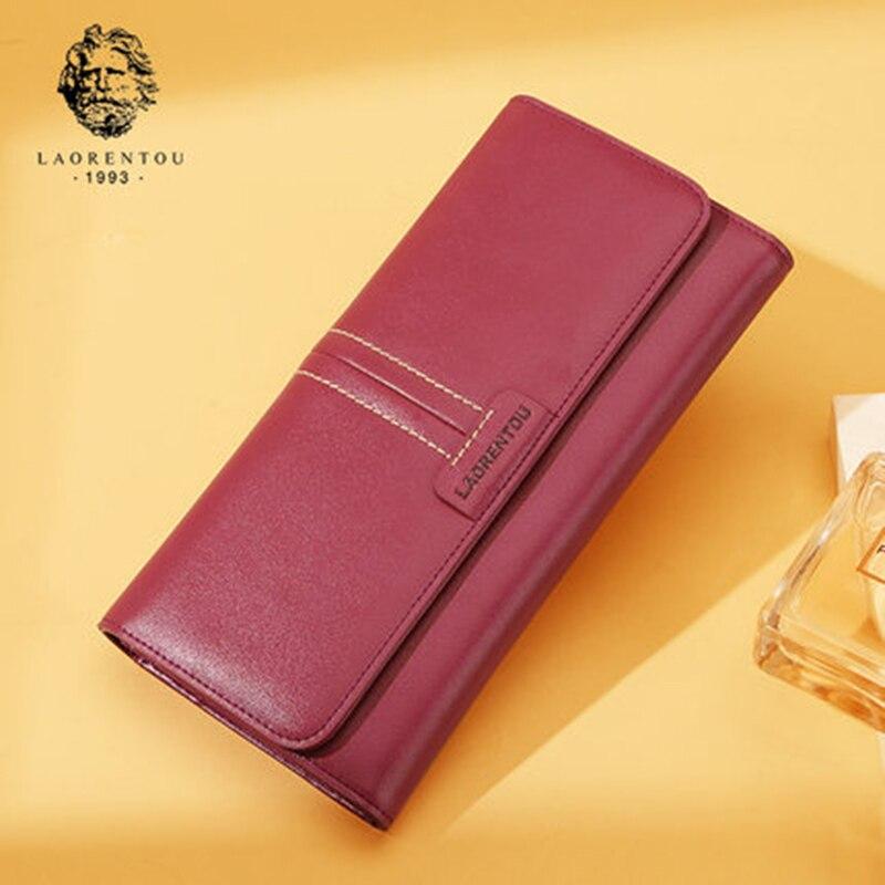 LAORENTOU Women Split Leather Long Wallet Purse Fashion Ladies Wallet Stylish Long Purse Clutch Bag Zipper Wallets for Women