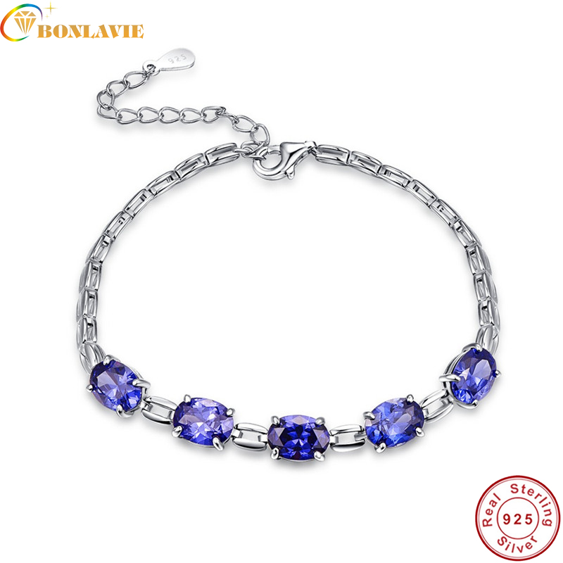 BONLAVIE 7.01g Charm <font><b>Bracelet</b></font> for Women Luxury 5pcs <font><b>Tanzanite</b></font> Brand <font><b>Bracelets</b></font> & Bangles Plusera Wholesale Dropshipping image