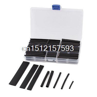 150 Pcs 8 Sizes Black Assortment Kit 2:1 Heat Shrink Tube Sleeving Wrap Wire 2 1 150