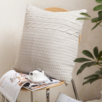 2015 Vintage Cushion Cover Solid Knitted Square Beige Pillows Case 45x45cm Car Sofa Cushion Covers Home