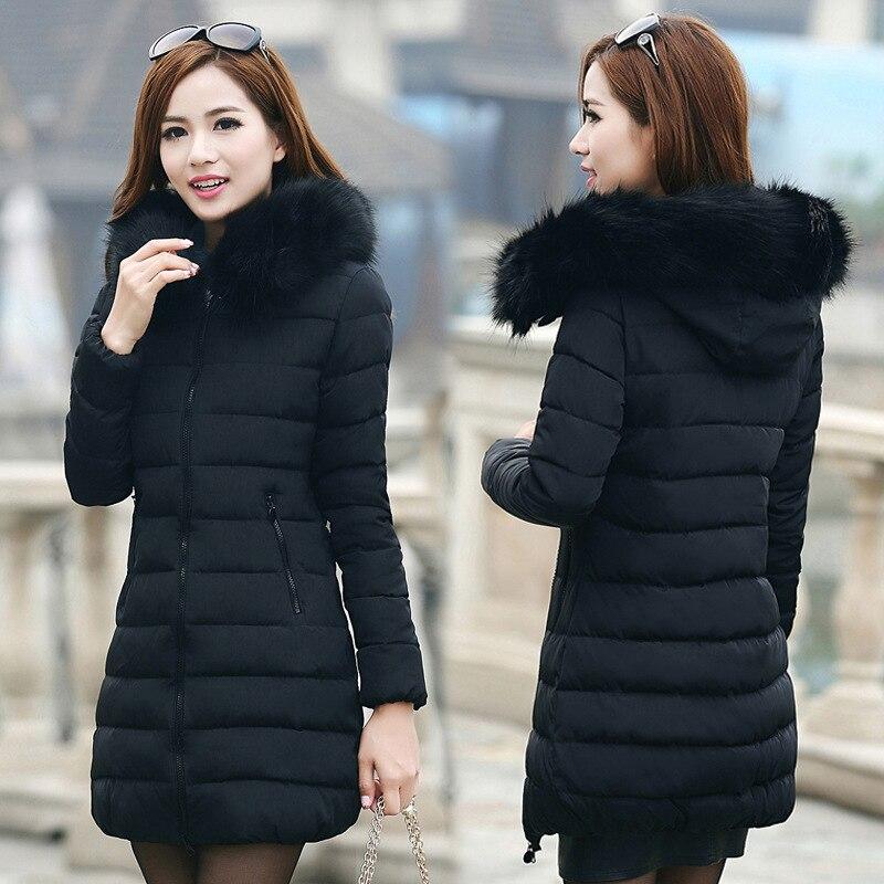 Women Jackets Winter Fur Collar Thick Coats Hooded Slim Cotton Padded Jacket Warm   Parkas   Outwear Overcoat Plus Size 5XL KZ0909