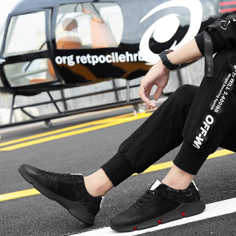 Quentes 44 Skate Respirável Até Homens Inteligente Rendas Couro white Genuíno Sapatos Sneakers Tamanho Formadores Black Movimento Causal Fasion De 38 FXwBFvxqTr