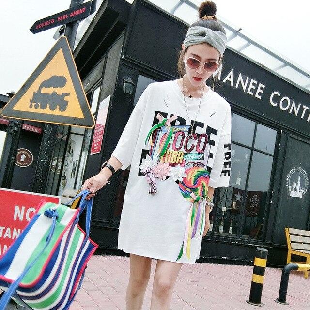 1fae4da64d2d Fashion Thai Brand BF Style Tshirt Dress Women Unique Letter Print Loose  Midi Dresses Hole Appliques Lace up bow Design Oversize