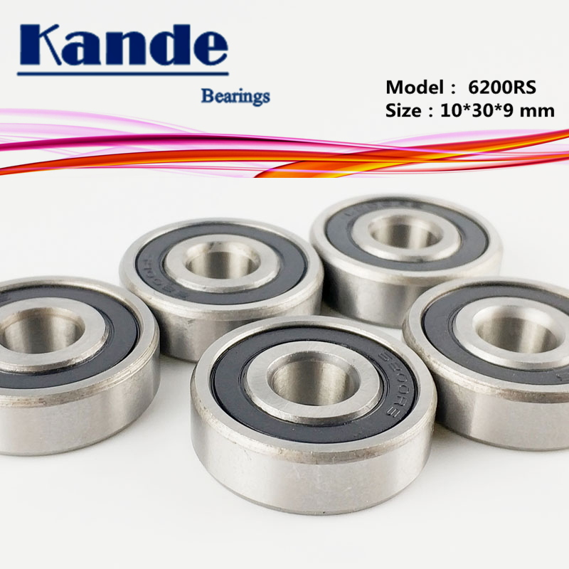 Kande <font><b>6200RS</b></font> 10PCS ABEC-5 6200 2RS Single Row Deep Groove Ball Bearing 10x30x9 mm 6200RZ image