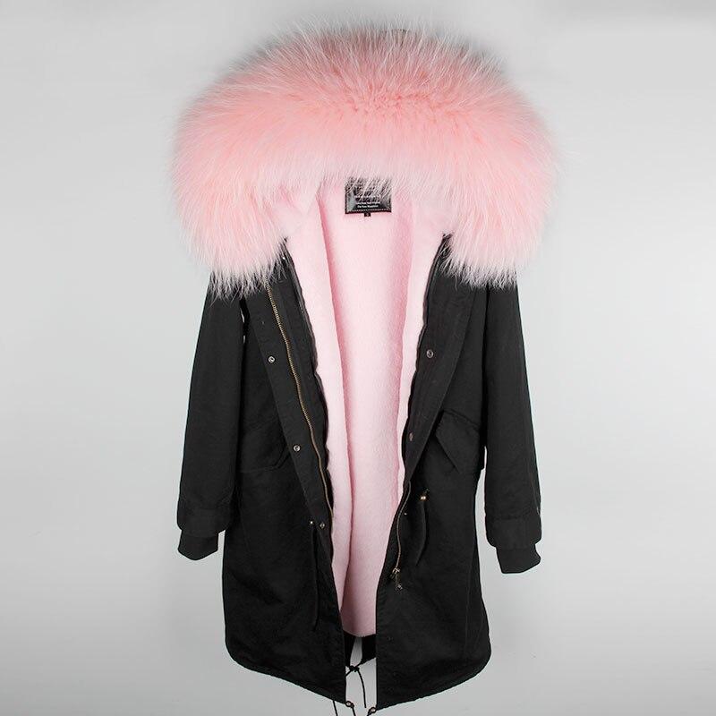 MAOMAOKONG 2018 lange jas jas Parka Mujer Jas plus size winter natuurlijke wasbeer parka zwart bontvoering jas - 5