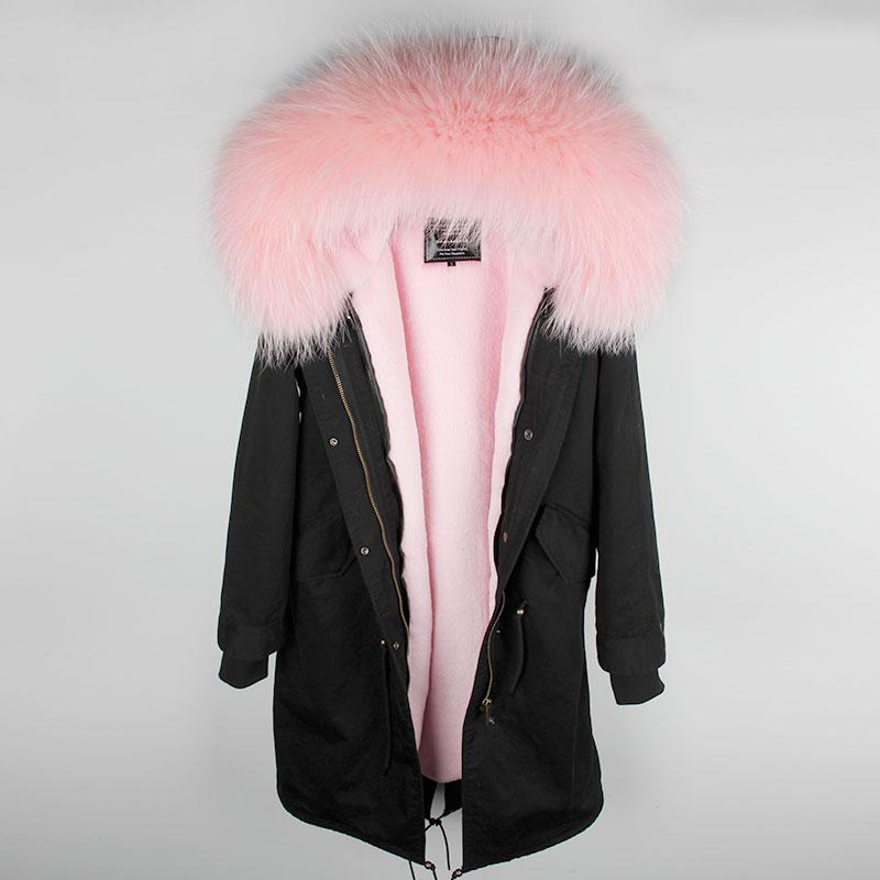 MAOMAOKONG 2018 длинная куртка пальто парки Женское пальто плюс размер зимние парки из натурального енота черная меховая подкладка куртка - 5