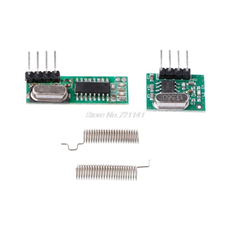 1 Set 433Mhz Superheterodyne RF Receiver Transmitter Module Kit With 2 Antennas For ARM/MCU Dropship
