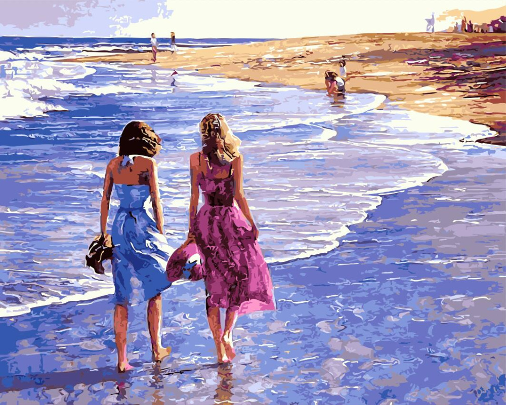 on the beach girls and sea Oil Painting picture By Numbers Digital Pictures DIY Coloring Unique Gift Home Decoration living room