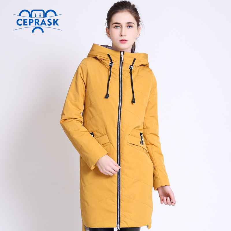 2018 High Quality Women's Coat Spring Autum Female Windproof Thin   Parka   Long Plus Size Hooded New Designs Women Jackets CEPRASK