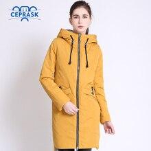 2018 de alta calidad abrigo de las mujeres primavera otoño femenino viento Delgado Parka largo más tamaño con capucha nuevos diseños mujeres chaquetas CEPRASK
