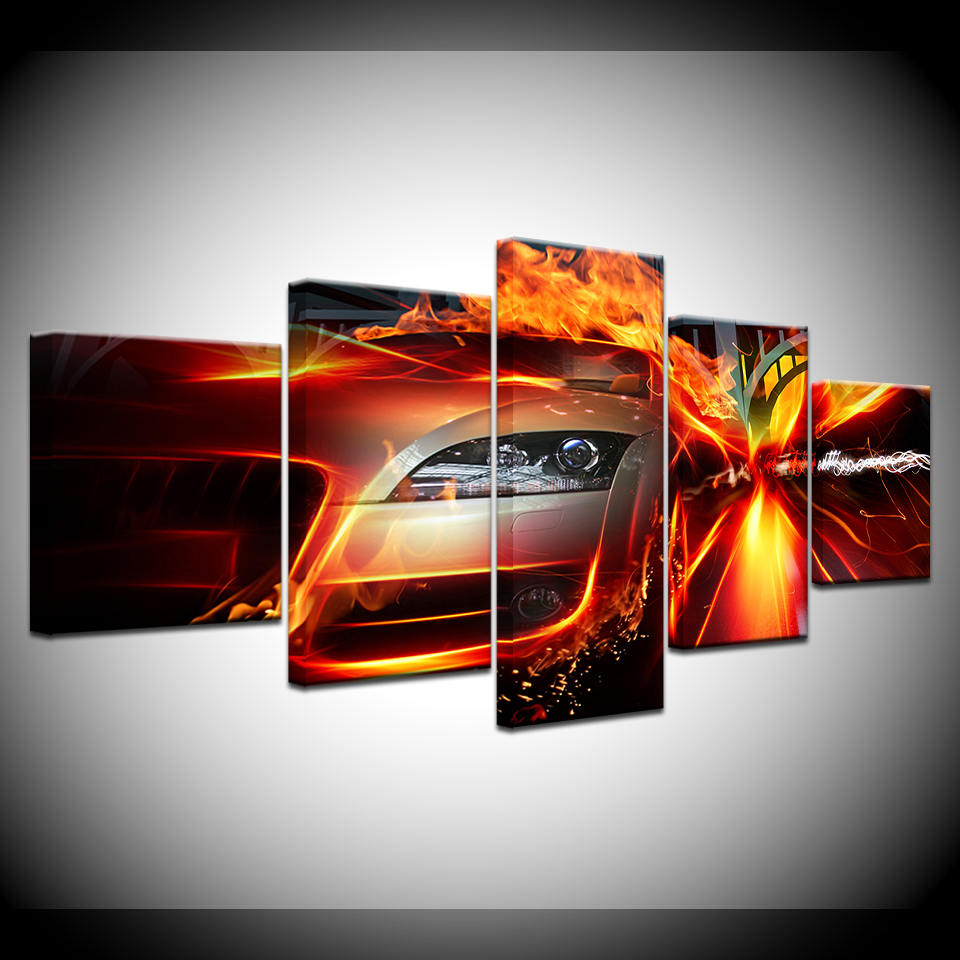 World of Crash and Accidents Car fire 5 Piece Canvas Wallpapers modern Poster Modular art painting for Living Room Home Decor in Painting Calligraphy from Home Garden