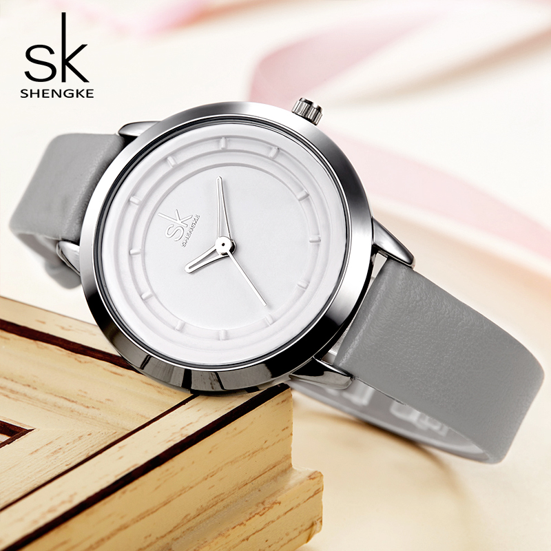 Shengke Watches Women Fashion Leather Wrist Watch Luxury Quartz Ladies Watches Reloj Mujer 2018 SK Women Simple Clock #K0048 [tool] 2017 new arrival kpop bts bangtan boys army a limited edition ver ii concert lamp bomb light stick concert tool 0155