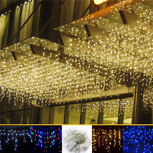 4m 96 Led Curtain Icicle String Lights Patio Christmas Cristmas Outdoor Decor Wedding Party
