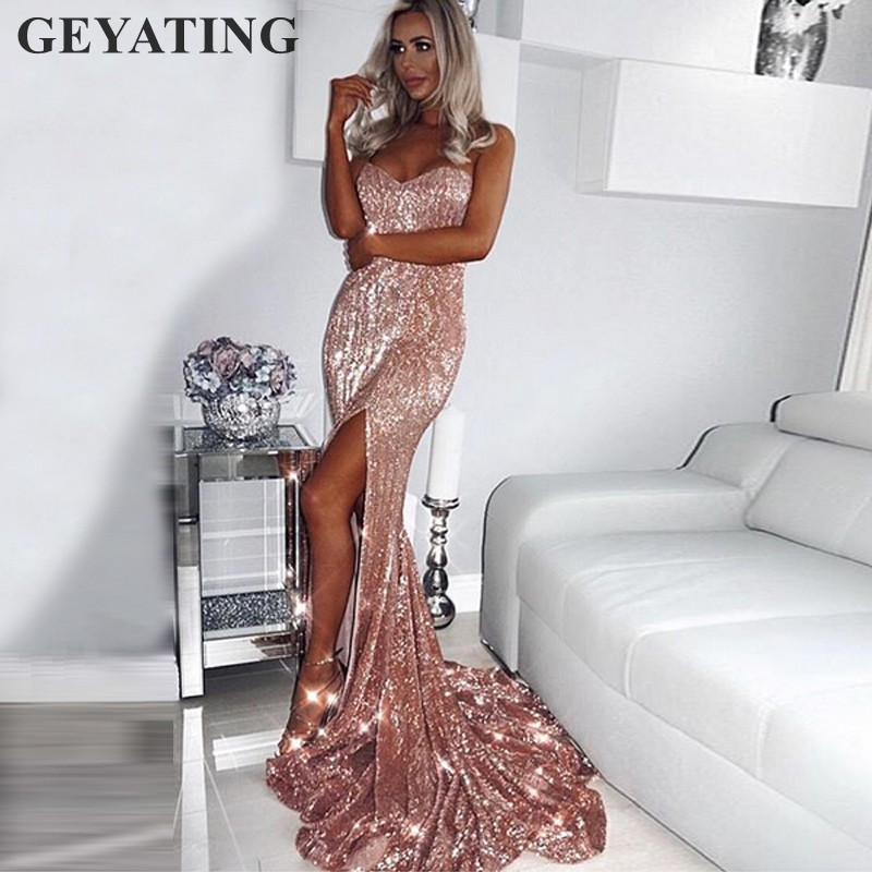 Rose Gold Long Mermaid   Prom     Dresses   2019 Sparkly Navy Blue Sequined Side Split Evening Party   Dress   Cheap Women Maxi Formal Gowns