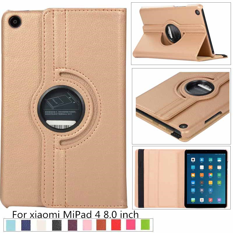 Business Litchi 360 Rotating Case For Xiaomi Mi Pad 4 MiPad4 Case 8 Inch Tablet PU Leather Stand Cover For Mipad4 8.0' + Film