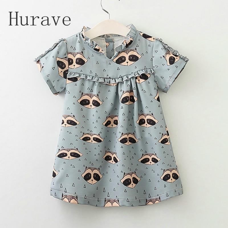 Hurave 2017 animal pirint girls dress kids cotton vestidos for girl summer short sleeve new faion children clothing
