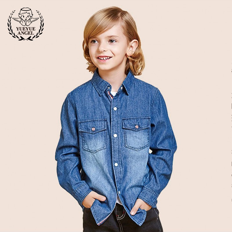 Single Breasted Shirt For Boy 2018 Casual Blouse Korean Style Denim Shirt Cotton Long Sleeved Tops Boys Clothes Kids Clothing все цены