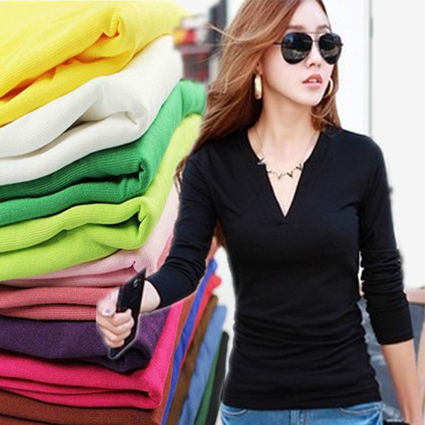 New Women Basic V Neck Long Sleeve Fitted Plain Top Solid Stretch Shirt S-M Autumn Clothing Tops Slim T shirts