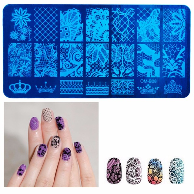 1pcs New 612cm Stainless Steel Nail Art Stamping Plates Lace