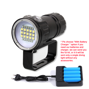 Image 5 - Diving Flashlight Ultra Bright Scuba Waterproof Underwater QH18 QH27 80M LED Dive Torch Light Photography White Blue Red Lamp