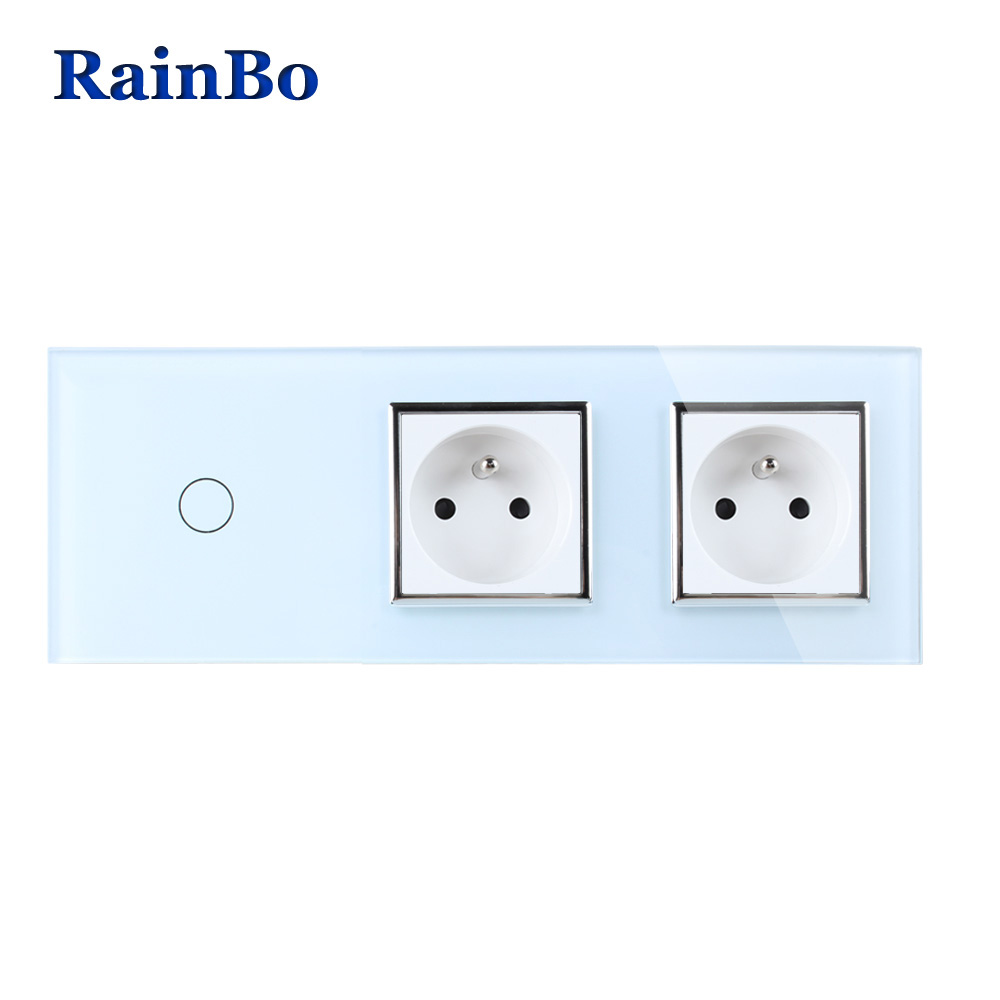 RainBo Crystal Glass Panel France Power Socket EU Touch Socket Control Screen Wall Light Switch 1gang1way A39118F8FCW/B rainbo touch screen control tempered crystal glass panel wall light touch switch socket wall power usb socket a29118e2uscw b