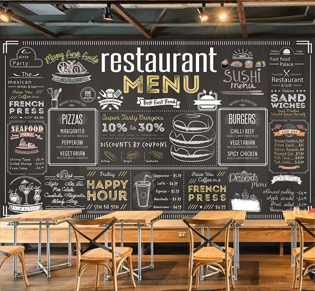 Bacaz Vintage Menu Bill Wallpaper Mural For Coffee Cafe