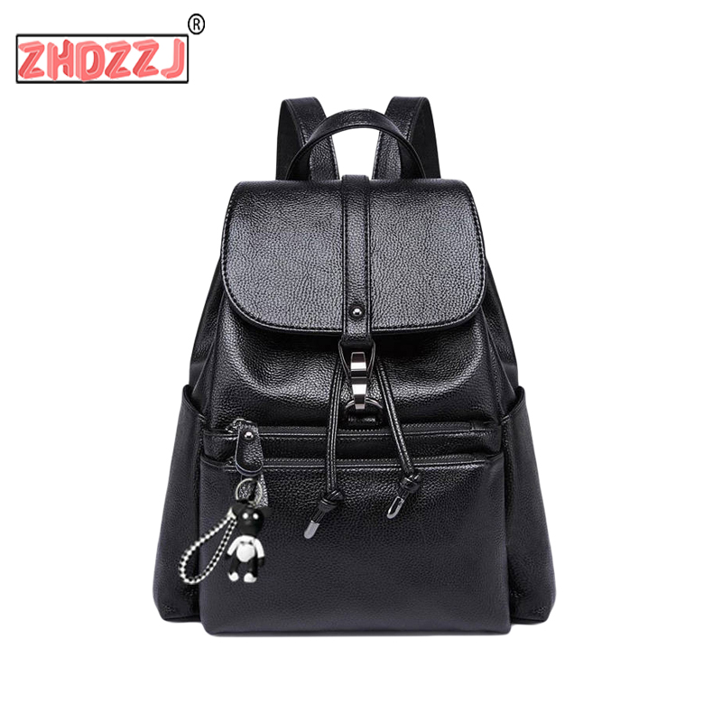 Anti Theft Female Backpack Women High Quality Pu Large Capacity Fashion Black Backpack For School Teenagers Girls New 2019