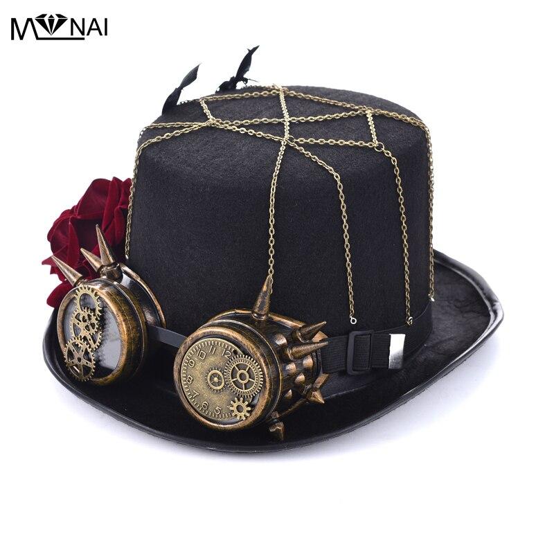 Handgjorda Cosplay Hat Vintage Women Steampunk Rose Top Mössor Med - Maskeradkläder och utklädnad - Foto 1